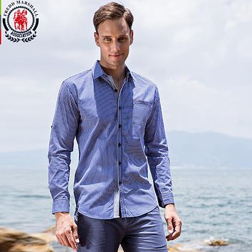 New Arrival Men's Shirt  Striped Long Sleeve Plaid Shirts Men Dress Shirt Casual Denim Printing Shirts