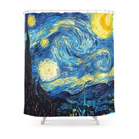 Society6 Starry Night Tardis Art Painting Shower Curtain
