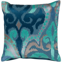 Blue Jay, Pussywillow Gray And Teal Polyester Filled 18 X 18 Pillow Surya Accent Pillows