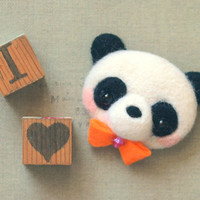 Handmade panda brooch, needle felted panda pin, whimsical animal brooch, children jewelry, gift under 25