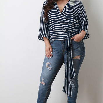 Plus Size Surplice Striped Wrap Top | UrbanOG