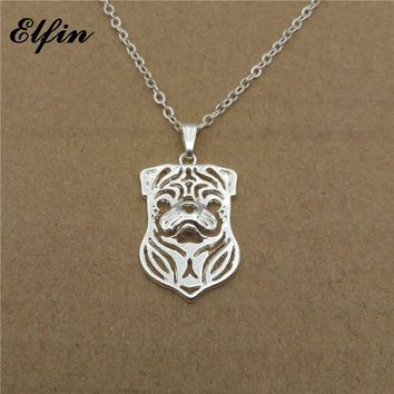 Elfin 2018 Trendy Hollow Pug Necklace Gold Color Silver Color Dog Jewellery Pendant Necklace Women Steampunk
