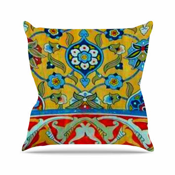 "S Seema Z ""PERSIAN MOOD"" Yellow Blue Throw Pillow"