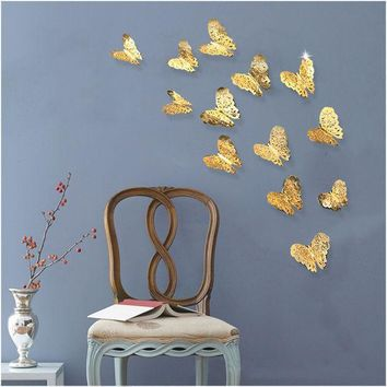 ESBONHS 12pcs/lot 3D PVC Wall Stickers  Butterflies Hollow DIY  Home Decor Poster Kids Rooms Wall Decoration Party Wedding Decor