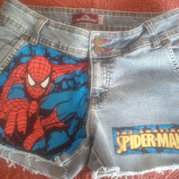 Upcycled Cutoff  Denim Womens/Junior Spiderman Jean Shorts Size 9/10.