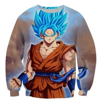 Super Saiyan God Blue Hair Goku Dragon Ball Z Sweatshirt
