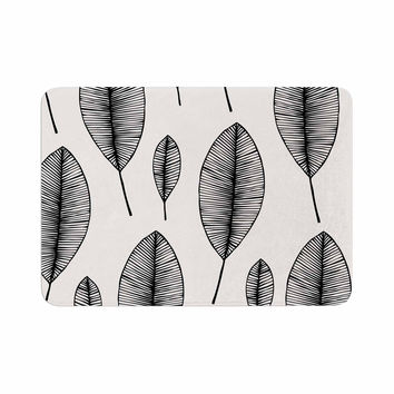 "KESS Original ""Leaves"" Black White Memory Foam Bath Mat"