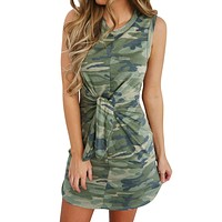 Sexy camouflage women dress Off shoulder sleeveless sashes ruched dress of Ladies Elegant summer party mini sun dress 2019