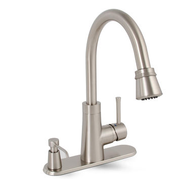 Essen™ Kitchen Faucet With Pull Down Spout, Single Metal Lever Handle, And On Deck Soap Dispenser, Brushed Nickel