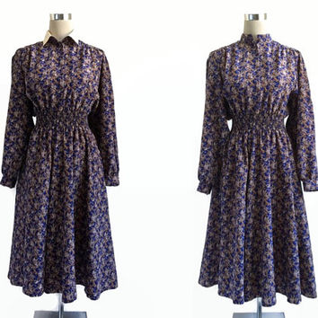 Vintage Floral Dress - Midi Dress - Detachable Collar Shirt Dress - Alexon Dress