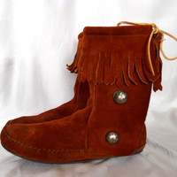 Minnetonka Style Suede Leather Womens Ankle Brown Boots Womens Brown Boots US Size 8.5 EU 39 UK 6 Ready To ship