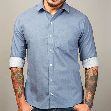 Blue Japanese Wave Print Shirt - Zachary