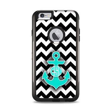 The Teal Green Monogram Anchor on Black & White Chevron Apple iPhone 6 Plus Otterbox Commuter Case Skin Set