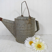 Antique Galvanized Metal 6 Quarts Watering Can with 2 Handles - Vintage Heavy Duty Zinc Metal Gardening Water Can Holds Water Without Leaks