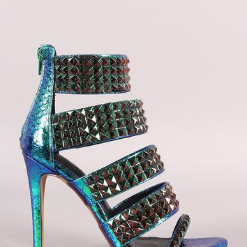 Holographic Snake Embossed Studded Open Toe Stiletto Heel