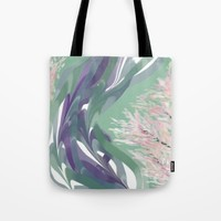 Deep Ocean River Abstract In Soft Green and Purple Tote Bag by Jen Warmuth Art And Design