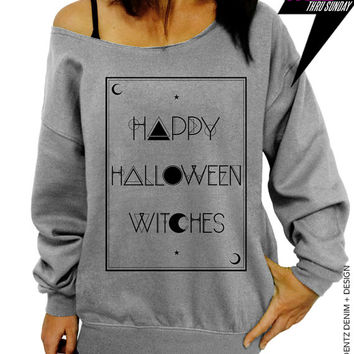 Halloween Shirt - Tarot - Happy Halloween Witches - Gray Slouchy Oversized Sweatshirt