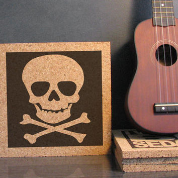 Skull Design Cork Trivet - Mix And Match Wall Art - Kitchen Decor - Dorm Room Decor - Bathroom Decor