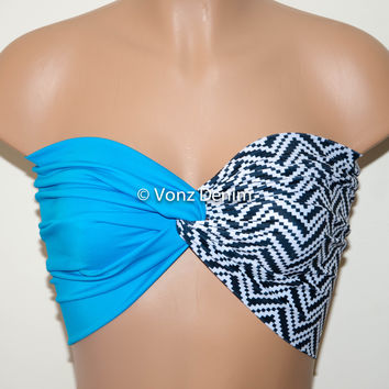 Turquiose and Aztec  Chevron Yoga Sport Twisted Bandeau, Swimwear Bikini Top, Twisted Top Bathing Suits, Spandex Bandeau Bikini
