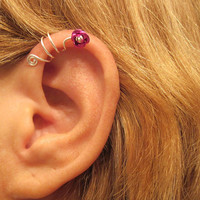 No Piercing Wild Flower Ear Cuff for Upper Ear 1 Cuff Wire Color Choices