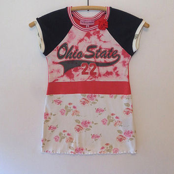 One of a Kind Girl's Size 3 Eco-friendly Upcycled Tie Dyed Ohio State T Shirt Dress, Ruffly Hem Floral Skirt, Short Navy Raglan Sleeve,