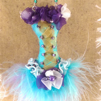 OOAK Christmas Ornament Blue Purple Burlesque Corset pearls Gift