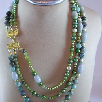 Olive Green Jade, Avocado Green Freshwater Pearls, Beaded necklace, Triple Row Necklace, Green Color Gift, Ornate gold clasp