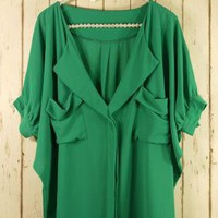 Green Oversized Top with Front Draped Pockets