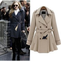 ZLYC Fit & Flare Belted Wrap Double Breasted Coat for Women