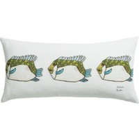 """Fish 23""""x11"""" Pillow With Down-alternative Insert"""