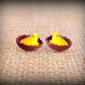 Chick Earrings - Chocolate Chick - Easter Chick - Marshmallow Chick - Candy Earrings - Confection Earrings - Candy Jewelry - Easter Candy