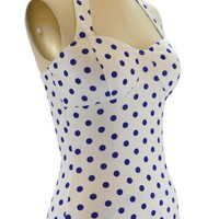 50s Style PINUP BLUE on White POLKA DOT Halter Top with Lightly Padded Cups