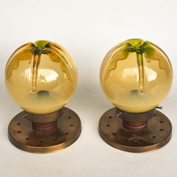 Vintage Globe Sconces / Murano Art Glass  / Pair Of Mazzega Style Ceiling  -  Wall Lights  / 70's Italy