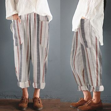 Women Striped Elastic High Waist Linen Harem Pants