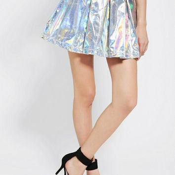 CULT By Lip Service Hologram Box-Pleat Skirt