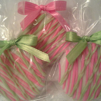 Hot Pink Lime Green Chocolate Covered Oreos Cookies Wedding Favors Baby Shower Christening Favors Custom Party Favors