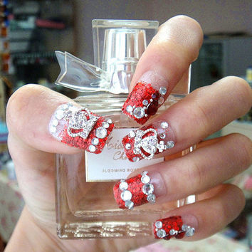 fake nails artJapanese romantic glamorous crown tiara Hime gyaru fake nails set