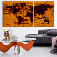 World Map on Old Wood Background - Framed Giclee Map Canvas - Ready to Hang - Yellow World Map