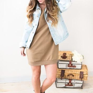 Casual Friday V-Neck Sweatshirt Dress