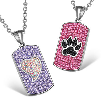 Heart and Wolf Paw Austrian Crystal Love Couples Best Friends Dog Tag Purple Pink Black White Necklaces