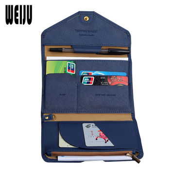 WEIJU Women Travel Passport Cover PU Leather Business Card Holder Purse Passport Holder Men's Document Organizer Bag