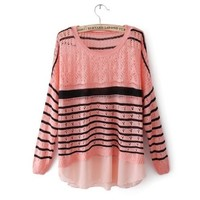 Long Sleeve Striped Contrast Chiffon Sweater Pink