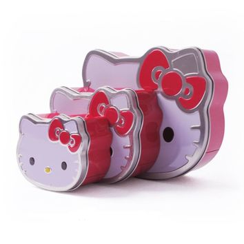 1 pcs Cute Creative Hello Kitty Cute Cat Shaped Tin Box Candy Holder Storage Boxes Bins Home Storage Organization Supplies