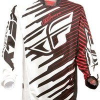 Fly Racing Kinetic Shock Mesh Size: Youth XL Black/Red Motocross Jersey