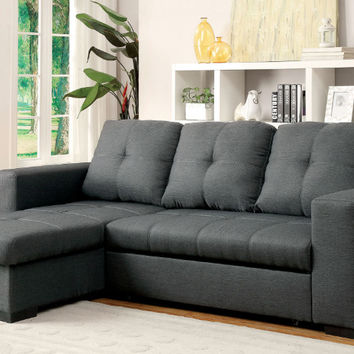 CM6149GY 2 pc denton gray fabric sectional sofa set with sleep area