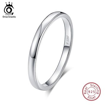 ORSA JEWELS 100% Real 925 Sterling Silver Rings for Women Simple 2018 Classic Wedding Ring Fashion Female Wholesale Jewelry SR74