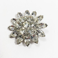 Vintage Weiss Brooch, Starburst Style Silver Tone Clear Rhinestone Pin, Vintage 1950's Brooch, Bridal Jewelry, Christmas Brooch