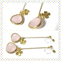 Clover earring Shamrock earring D8G Wedding clip on earring long dangle earring gold drop earring Pink Rhinestone dangle clip on earring