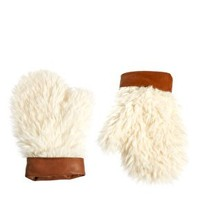 ASOS Faux Shearling Mittens With Leather Cuff at asos.com