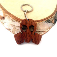 Gasmask Wooden Keychain, Walnut Wood, Cool Keychain, Custom Engravable Keychain, Environmental Friendly Green materials